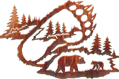 Bear Tracks By Neil Rose - Wildlife Laser Cut Metal Wall Art