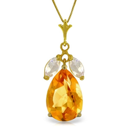 6.5 Carat 14K Solid Yellow Gold Necklace Citrine White Topaz
