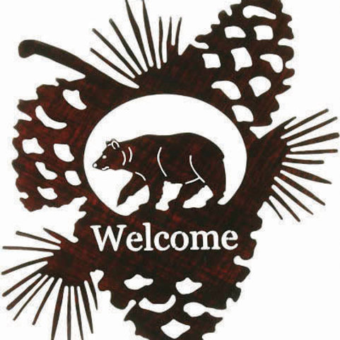 Grizzly Bear Welcome - Nature Metal Wall Art Sign