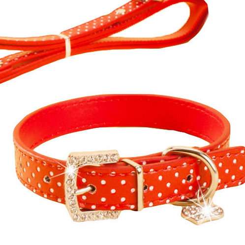 Rhinestone Pet Collars - Dog Leashes - Pet Supplies -- Red White Point 1