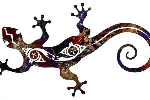 Tribal Gecko By Bindrune Design - Southwest Laser Cut Metal Wall Art