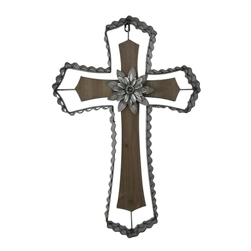 Wood and Galvanized Metal Cross with Flower Medallion Wall Décor