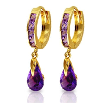 3.3 Carat 14K Solid Yellow Gold Huggie Earrings Dangling Amethyst