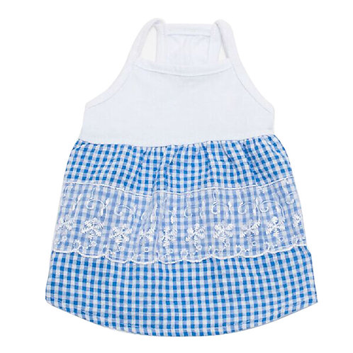Puppy Apparel Pet Clothing Lovely Blue Braces Skirt Dog Clothes, Bust 42cm