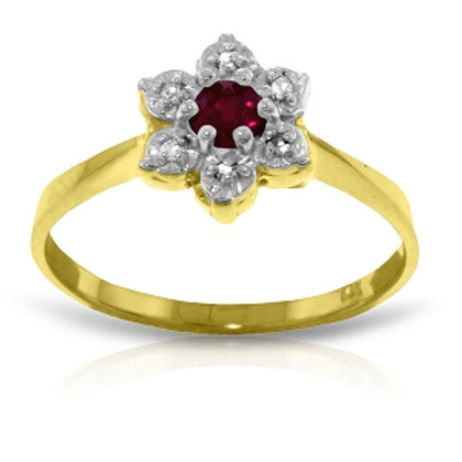 0.23 Carat 14K Solid Yellow Gold Half The Solution Ruby Diamond Ring