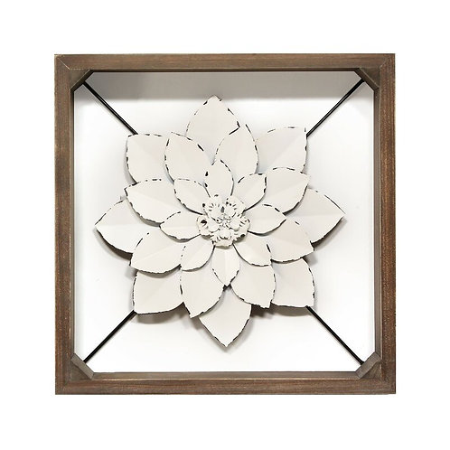 Framed Metal Flower Wall Décor