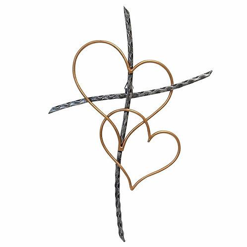 Sticks and Heart Cross Metal Wall Décor
