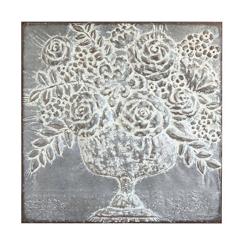 Embossed Floral Bouquet Metal Wall Décor