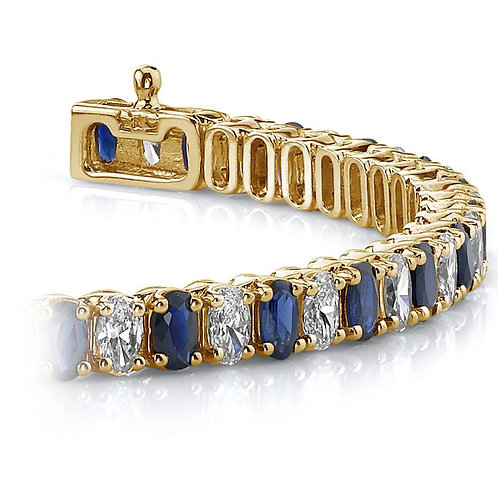 Vertical Oval Sapphire & Diamond Gemstone Bracelet In Yellow Gold (6.25 Ctw)