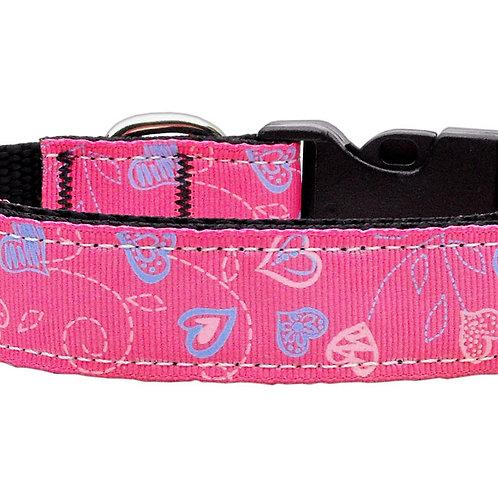 Crazy Hearts Nylon Collars Black Cat Safety