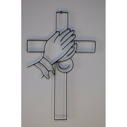 Cross with Praying Hands Metal Wall Décor
