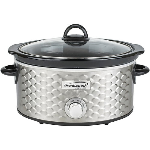 Brentwood Appliances 4.5-Quart Scallop Pattern Slow Cooker (Stainless Steel)