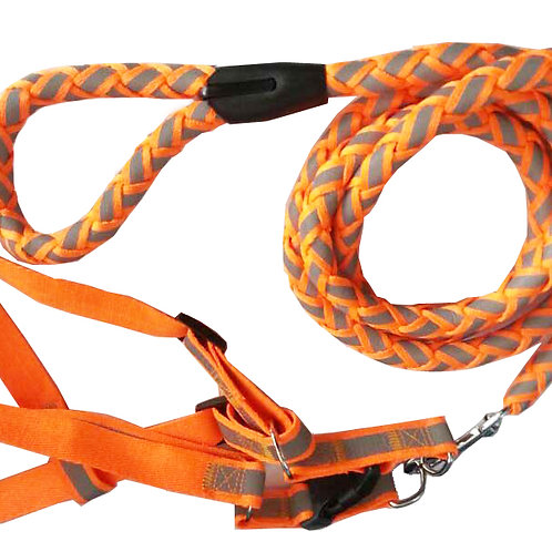 Reflective Stitched Easy Tension Adjustable 2-in-1 Dog Leash and Harness