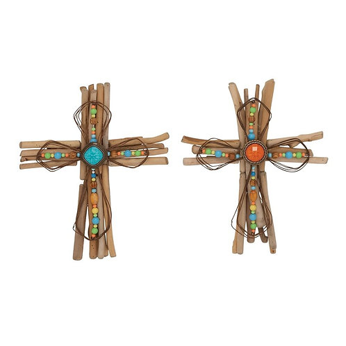 Wood and Metal Cross Wall Decor (Set of 2)