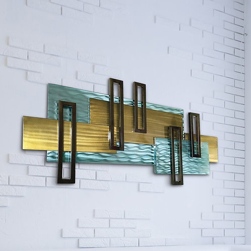 Abstract City Scape Coastal Metal Wall Décor