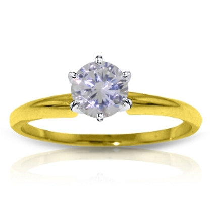 14K Solid Yellow Gold Solitaire Ring w/ 0.40 Carat H-i, Si-2 Natural Diamond