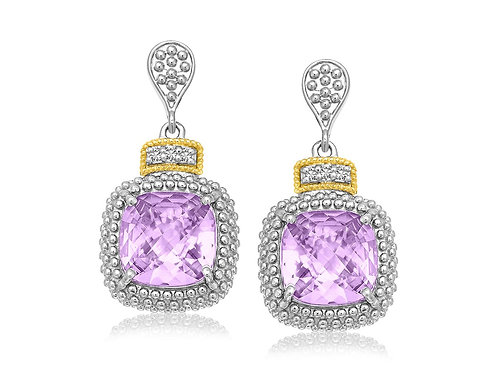 Fancy Cushion Amethyst and Diamond Drop Earrings in 18k Yellow Gold and Sterling