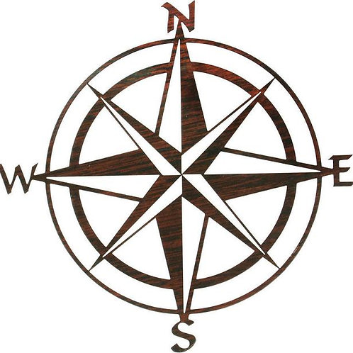 Nautical 3D Relief Metal Wall Art - Compass Rose By Kevin Fletcher