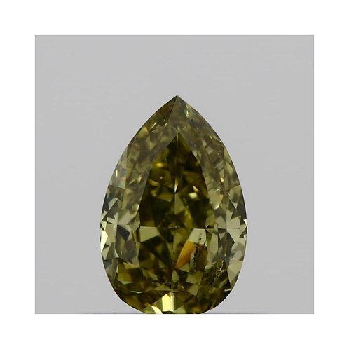 0.45 Carat Pear Loose Diamond, Fancy Deep Brown Green Yellow, SI2, Ideal