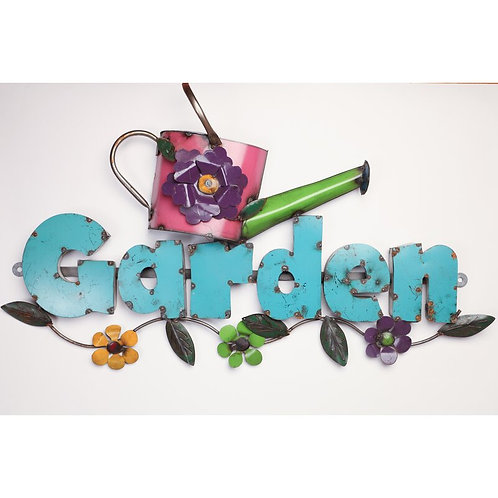 Garden with Pitcher Recycled Metal Sign Wall Decor