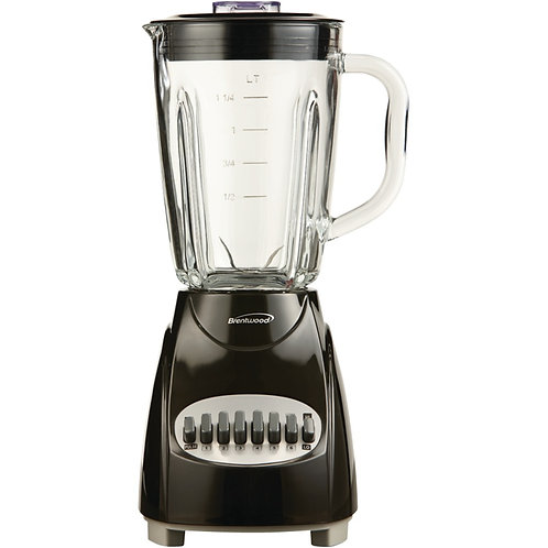 Brentwood 12-Speed Countertop Blender With Glass Jar (Black)
