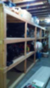 Organized Basement Shelves