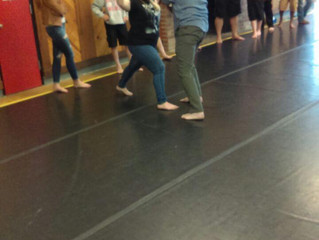 Seventh Graders learning the art of stage fighting