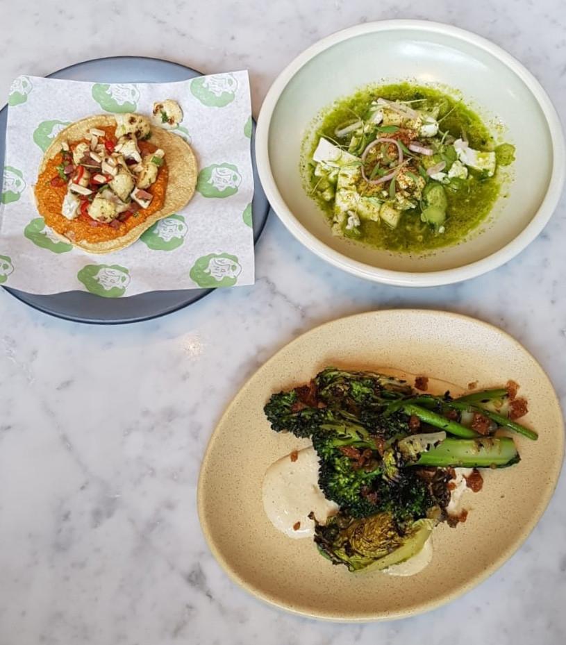 Roasted Cauliflower Tostada, Young Coconut Ceviche & Tijuana-Style Broccolini