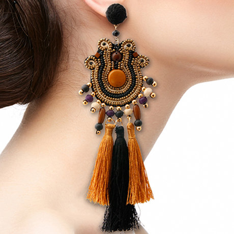 Bead And Tassel Tribal Earrings