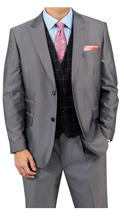 3pc Suit With Black Plaid Vest