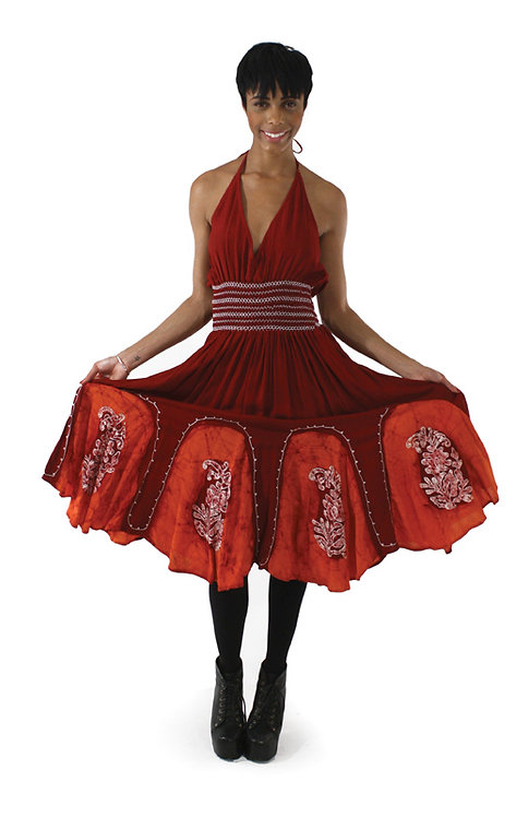 Batik Petal-Bottom Dress: Burgundy