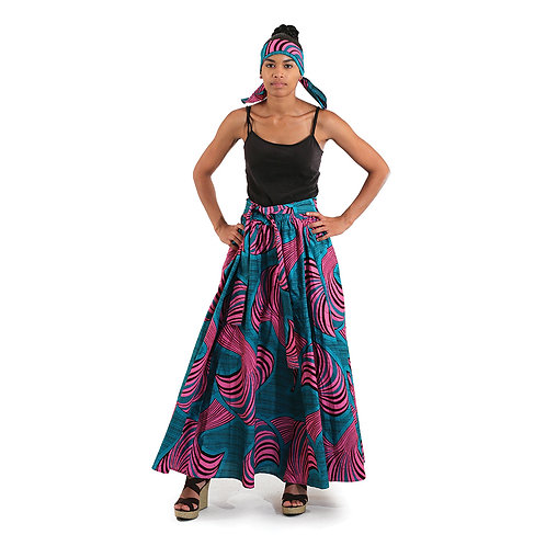 African Print Maxi Skirt: Turquoise/Pink