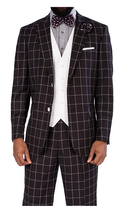 3pc Suit With White Vest