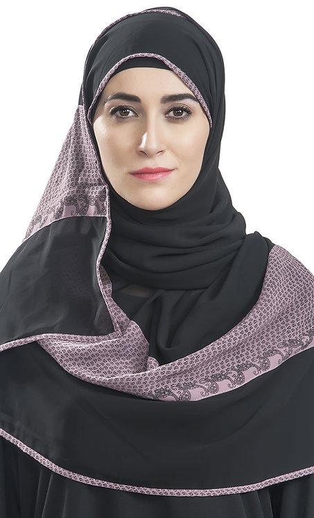 Black Print Panel Hijab