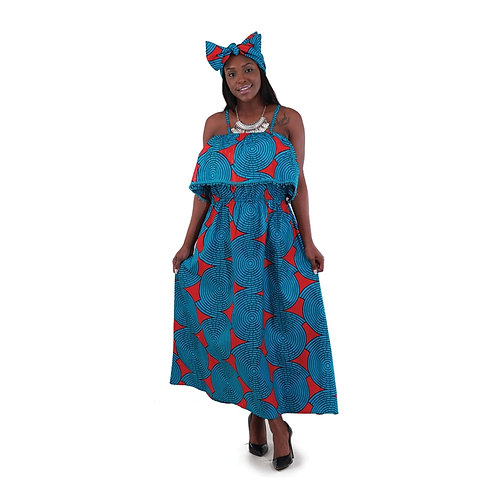 African Print Long Dress: Turquoise