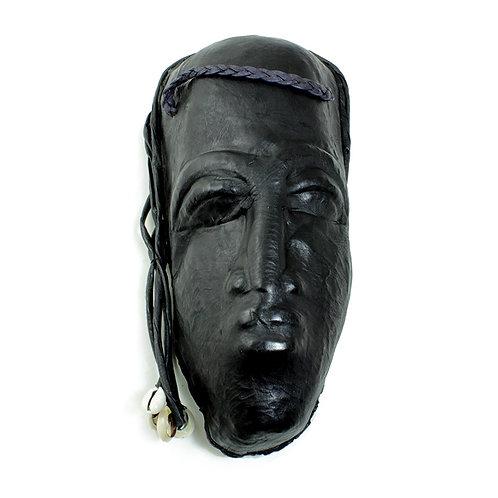 Black Leather Purse - Mask Design