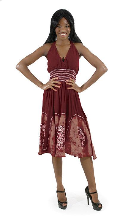 Batik Petal-Bottom Dress: Maroon