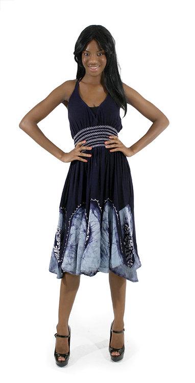 Batik Petal-Bottom Dress: Navy