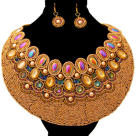 Bead And Crystal Round Bib Necklace And Earring Set Featuring Iridescent Beads