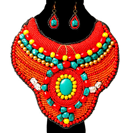 Beaded Raised Collar Bib Necklace And Earring Set