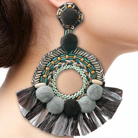 Beaded Pom And Tassel Earrings