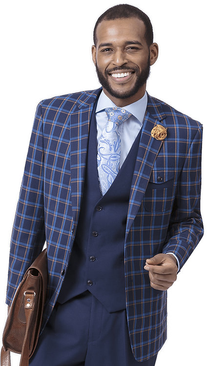 3pc Checkered Mens Fashion Suit