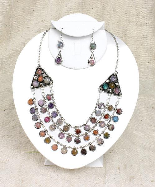 Agate Gemstone Necklace & Earring Set