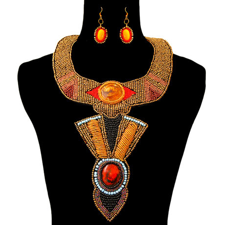 Beaded Collar Bib Necklace With Long Bib Drop And Earring Set