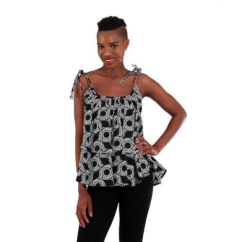 African Print Tier-Tie Top: Blk & Wht