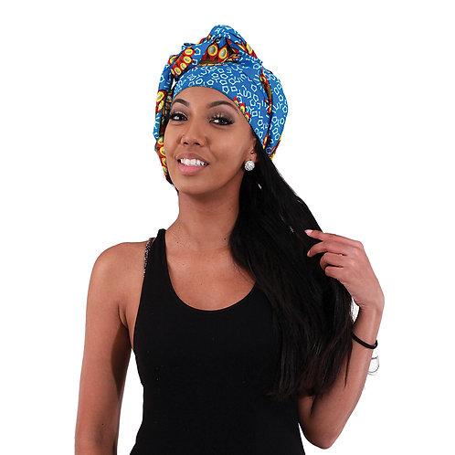 African Print Head Wrap Light Blue