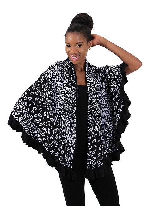 Black Leopard Print Poncho