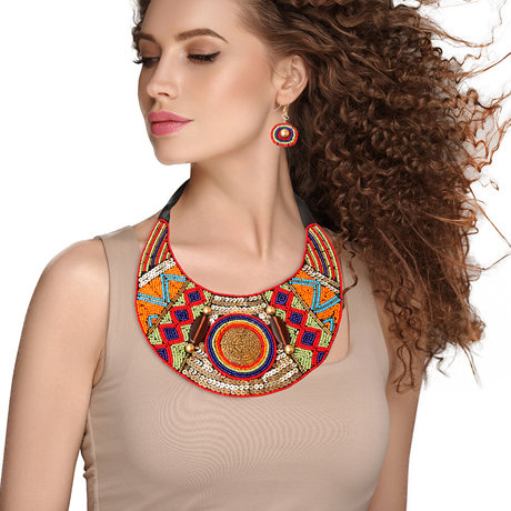 Beaded Bib Necklace And Earring Set Featuring Tribal Etched Metal Plate Design A