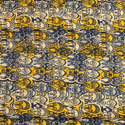 African Mask Print Fabric: Natural
