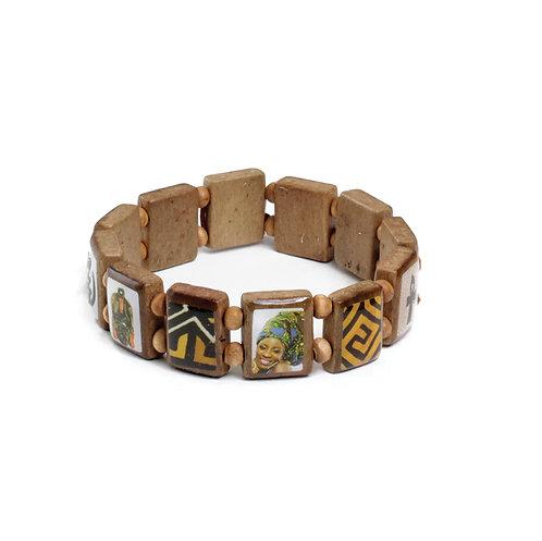 African Stretch Tile Wood Bracelet
